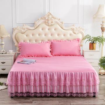 2019新款床裙三件套 枕套/对 纯真粉