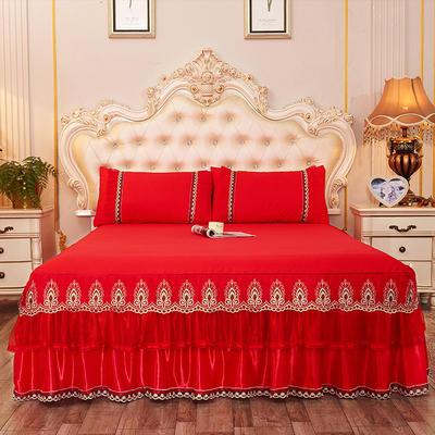 2019新款-豪华三层床裙三件套 1.5m床 单床裙 大红