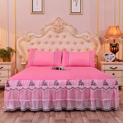 2019新款-豪华三层床裙三件套 2.0m床 单床裙 粉色