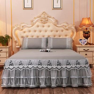 2019新款-豪华三层床裙三件套 1.5m床 单床裙 灰色