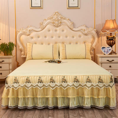 2019新款-豪华三层床裙三件套 1.5m床 单床裙 米黄