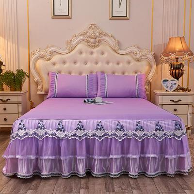 2019新款-豪华三层床裙三件套 1.5m床 单床裙 浅紫