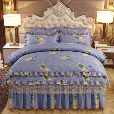 2019新款-全夹棉床裙四件套 1.5m(5英尺)床(床裙款) 菠萝游戏