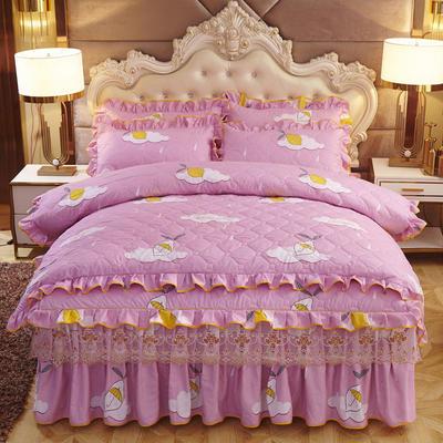 2019新款-全夹棉床裙四件套 1.5m(5英尺)床(床裙款) 柠檬雨