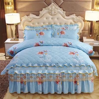 2019新款-全夹棉床裙四件套 1.5m(5英尺)床(床裙款) 树海西溪