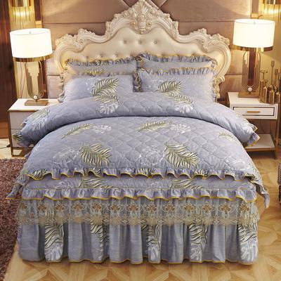 2019新款-全夹棉床裙四件套 1.5m(5英尺)床(床裙款) 叶叶情深