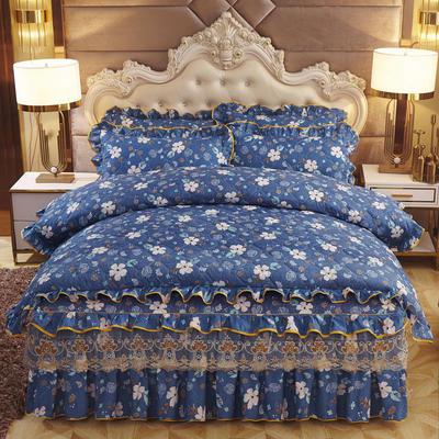 2019新款-全夹棉床裙四件套 1.5m(5英尺)床(床裙款) 夜半花香