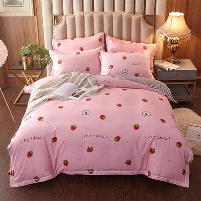 2019新款贡棉四件套 1.5m床单款四件套 动感草莓