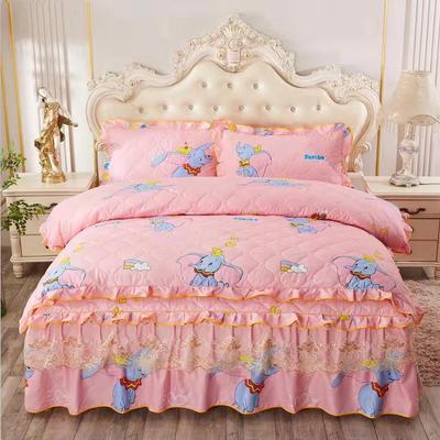 2019新款-全夹棉床裙四件套 1.5m(5英尺)床(床裙款) 小飞象
