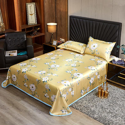 2020新款床单款冰丝席凉席 90*200cm(二件套) 甜蜜的梦-黄