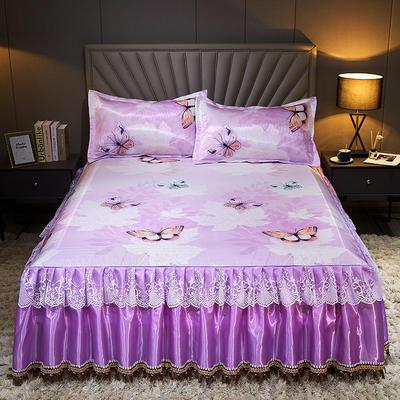 2020新款冰丝床裙三件套 1.5*2.0m 三件套 蝴蝶梦