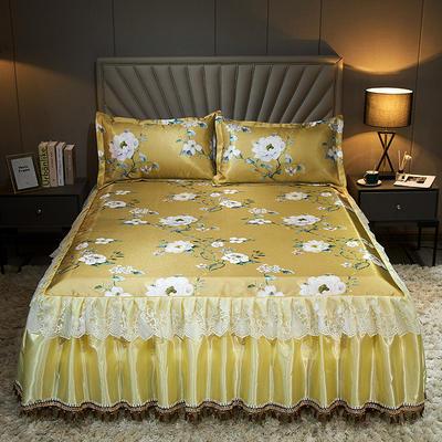 2020新款冰丝床裙三件套 1.5*2.0m 三件套 甜蜜的梦-黄