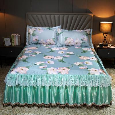 2020新款冰丝床裙三件套 1.5*2.0m 三件套 甜蜜的梦-蓝