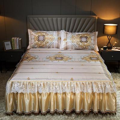 2020新款冰丝床裙三件套 1.5*2.0m 三件套 伊丽莎白