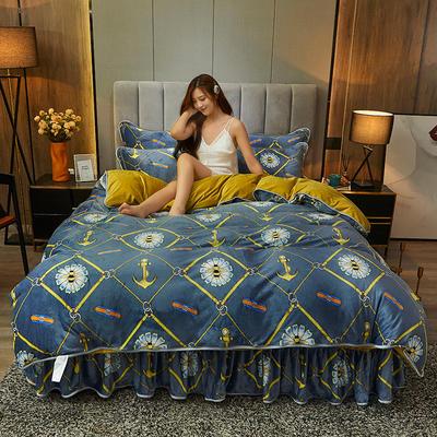 2020新款高克重加厚保暖牛奶绒水晶绒床裙四件套 1.5m床裙款四件套 蜜蜂