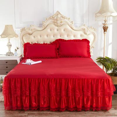 2019新款床裙三件套 150*200cm 热情红单床裙
