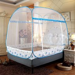 2019新款大顶加密免安装蒙古包蚊帐 1.2m(4英尺)床 花开朵朵-蓝色