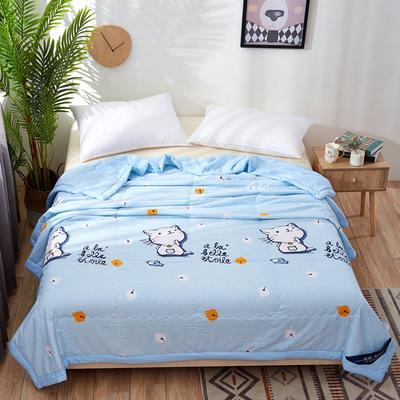 2020新款小清新卡通水洗棉夏被空调被夏凉被 150x200cm 小猫爱鱼-蓝