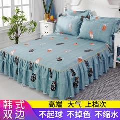 2019新款芦荟棉双边床裙三件套 1.2m(4英尺)床 菠萝蜜-绿