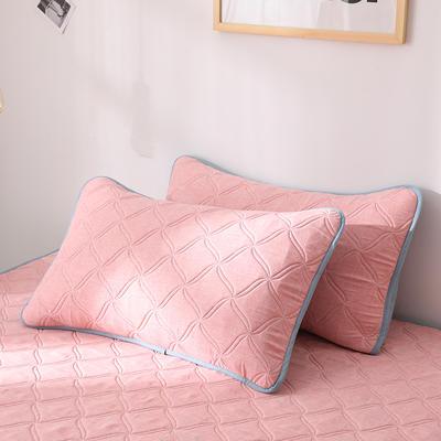 2019新款-色织亲肤棉乳胶软席三件套 38*74cm枕套/一对 粉