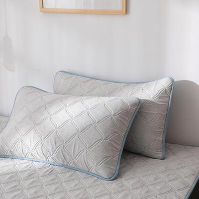 2019新款-色织亲肤棉乳胶软席三件套 38*74cm枕套/一对 浅灰
