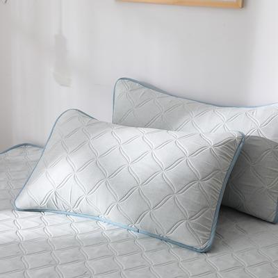 2019新款-色织亲肤棉乳胶软席三件套 38*74cm枕套/一对 浅绿
