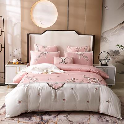 2020新款-60长绒棉新中式绣花四件套 床单款1.5m(5英尺)床 明玉·粉