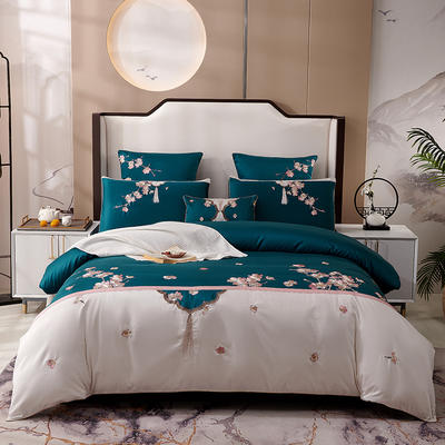 2020新款-60长绒棉新中式绣花四件套 床单款1.5m(5英尺)床 明玉-绿