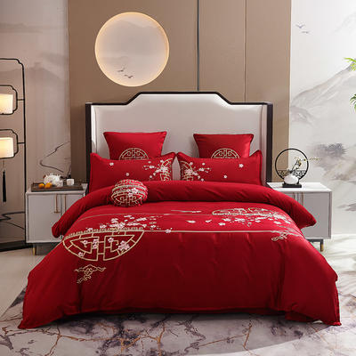 2020新款-60长绒棉新中式绣花四件套 床单款1.5m(5英尺)床 喜悦·红
