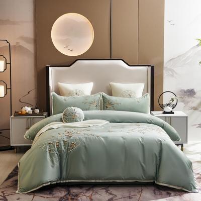 2020新款-60长绒棉新中式绣花四件套 床单款1.5m(5英尺)床 喜悦·绿