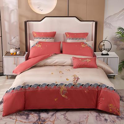 2020新款-60长绒棉新中式绣花四件套 床单款1.5m(5英尺)床 锦鲤