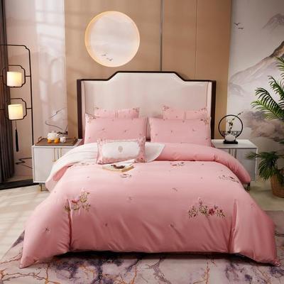 2019新款-60长绒棉新中式绣花四件套 床单款1.5m(5英尺)床 甜心