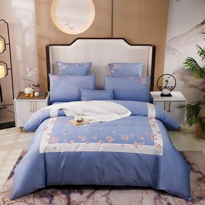 2019新款-60长绒棉新中式绣花四件套 床单款1.5m(5英尺)床 蔚蓝