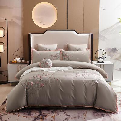 2020新款-60长绒棉新中式绣花四件套 床单款1.5m(5英尺)床 喜悦·驼