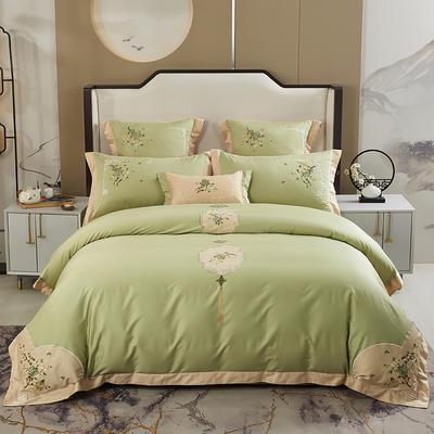 2020新款-60长绒棉新中式绣花四件套 床单款1.5m(5英尺)床 青伊