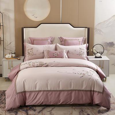 2020新款-60长绒棉新中式绣花四件套 床单款1.5m(5英尺)床 玉兰