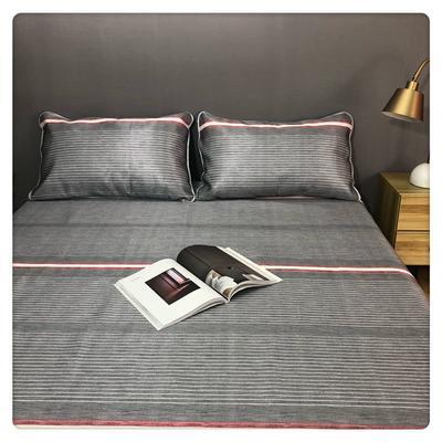 微商爆款无印良品风冰丝席凉席三件套床单款可折叠水洗空调席 1.5m(5英尺)床 绅士灰