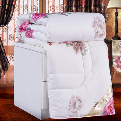 2019新款丝绸印花蚕丝被夏被春秋被加厚冬被单双人被子被芯 150x200cm3斤 盛世牡丹-米白
