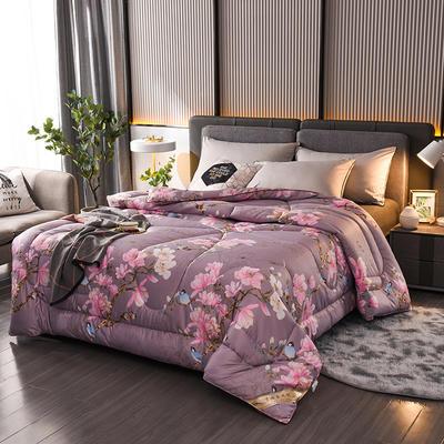 2021新款丝绸印花蚕丝被夏被春秋被加厚冬被单双人被子被芯 150x200cm3斤 鸟语花香-紫
