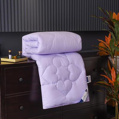 新款磨毛压花蚕丝被春秋被加厚保暖冬被夏凉被空调被子棉被芯 150x200cm3斤 紫色