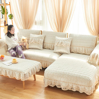 2019新款沙发垫-简欧 70*70有花边 简欧-珍珠白