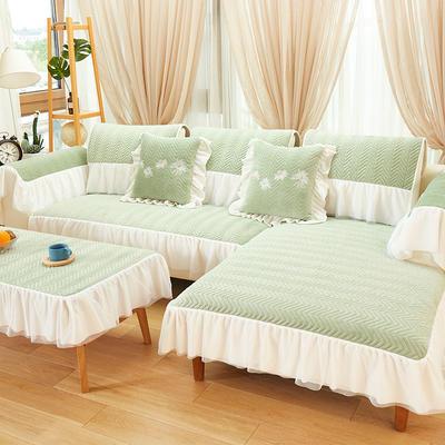 2019新款毛绒沙发垫-小雏菊(绣花款) 50*70花边扶手 简约款-薄荷绿