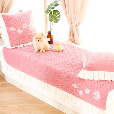 2019新款毛绒飘窗垫-小雏菊(蕾丝款) 90*70cm 小雏菊款-胭脂粉