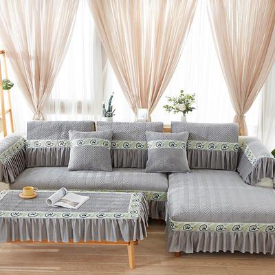 2019新款牛油果系列沙发垫 花边抱枕套55*55 椰子灰
