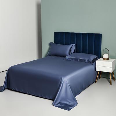 2021新品-60s兰精天丝单品床单镂空枕套 245*250cm单床单 宝石蓝