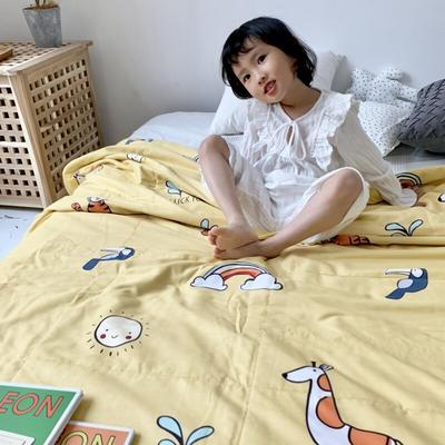 2019新款-艾草驱蚊全棉棉花夏被 110*150cm 动物园黄