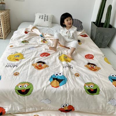 2019新款-艾草驱蚊全棉棉花夏被 110*150cm 芝麻街玉