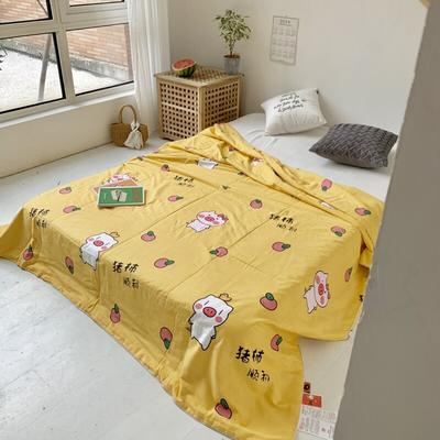 2019新款-艾草驱蚊全棉棉花夏被 110*150cm 猪事顺利-黄