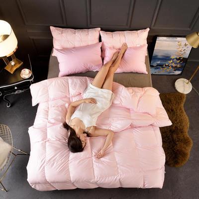 2019新款N1-全棉(133X100)平格羽绒被被子被芯 150x200cm鹅绒毛5斤 粉色
