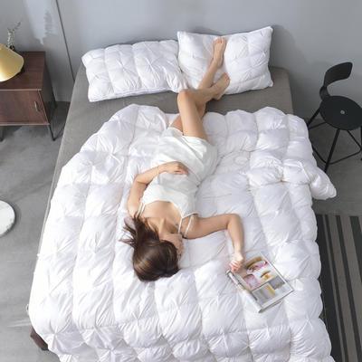 2019新款N2-80支柔赛丝羽绒被被子被芯 150*200cm50鹅绒5.08斤 白色